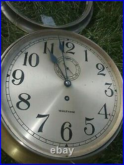 Waltham Large 8.5 Inch Dial Marine Ship's Clock like Chelsea No Bell Time Only