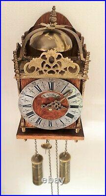 Warmink Lantern Wall Clock Dutch Vintage 2 x Brass Weights With Bell Strike