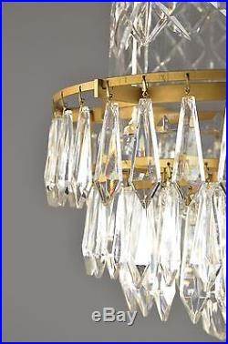 Waterford Brand Crystal & Brass Bell Chandelier c1950 Vintage Antique Gold Glass