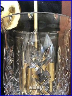 Waterford Vintage Bell Jar Crystal Brass Lantern Chandelier Colonial Fixture