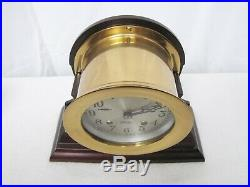 Well Preserved Antique Chelsea Ships Bell Mantle Clock on Walnut Wood Stand