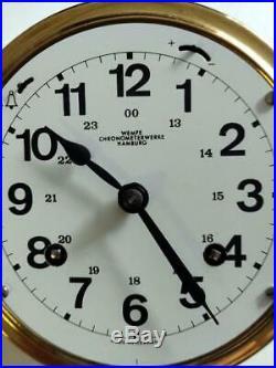 Wempe Ship's Bell Clock Chronometerwerke Hamburg W. Germany Brass