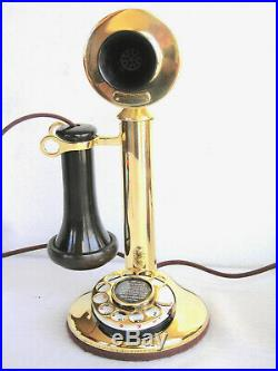 Western Electric Solid Brass Dial Candlestick Cow Bell Ringer Antique Telephone
