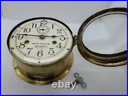 Working 1935 SETH THOMAS WWII US NAVY Brass Ships Bell Porthole Naval Ship Clock