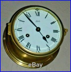 Working Schatz German Royal Mariner Brass Ship Bells Chime Clock With Key