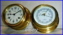 Working Wempe German Chronometerwerke Hamburg Ship Bells Chime Clock & Barometer