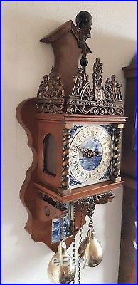Zaanse Clock Rare Blue & White Tiles Vintage 1970 Brass Weights Pendulum Bell